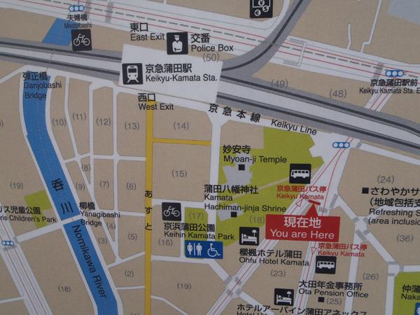 蒲田八幡神社前の案内マップ