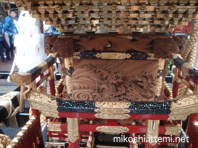 築波町会の神輿 本体の波作り