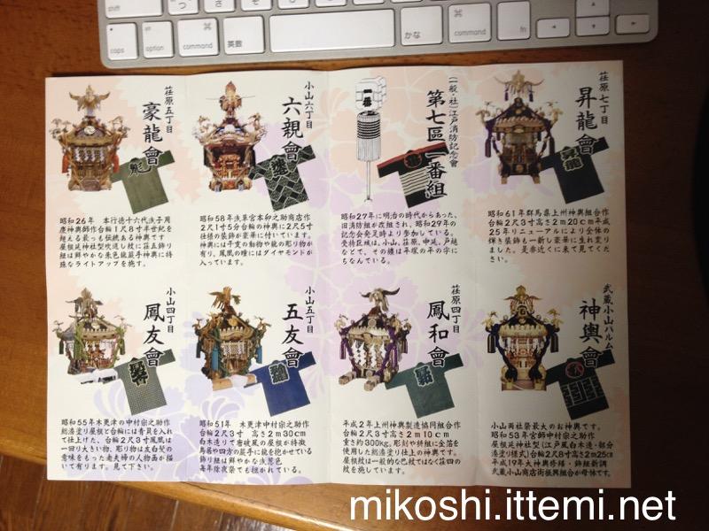 小山両社祭 連合神輿渡御のパンフレット(中身)