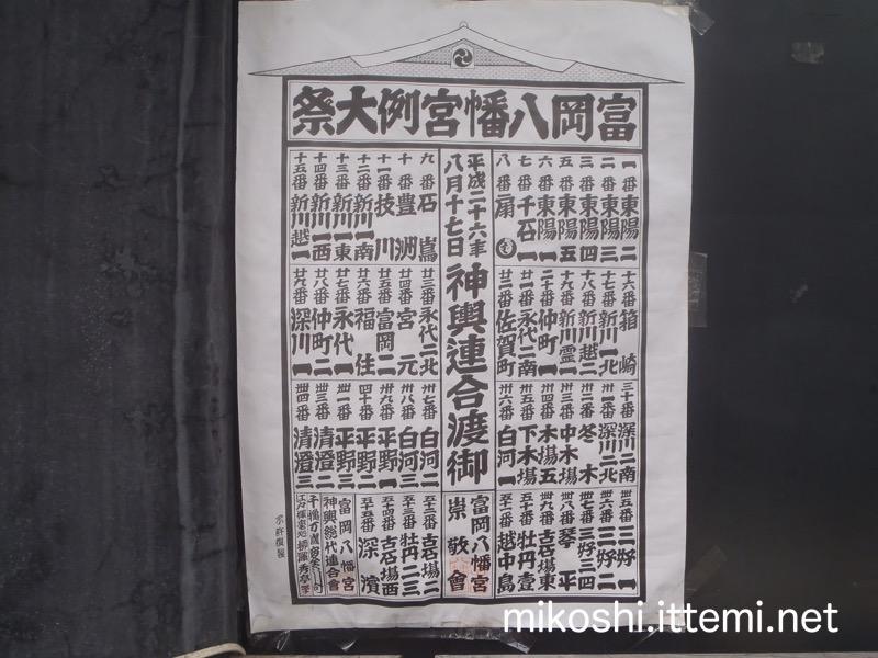 富岡八幡宮例大祭 神輿連合渡御一覧(平成26年)